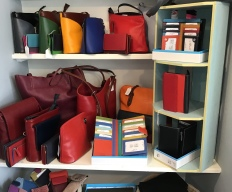 Leather handbags and purses.
