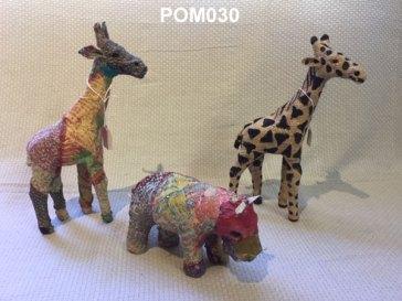 Small fabric animals: Giraffe (44cm) £26.50, Hippo (10cm) £15.50. Jute Giraffe (24 cm) £9.50